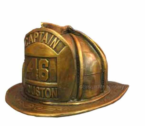 cast bronze firefighter helmet