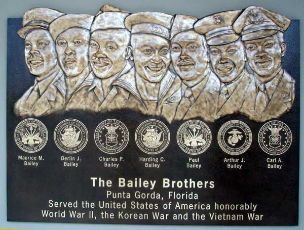 image casting bronze military plaque, seven Bas Reliefs with seven official armed services logos
